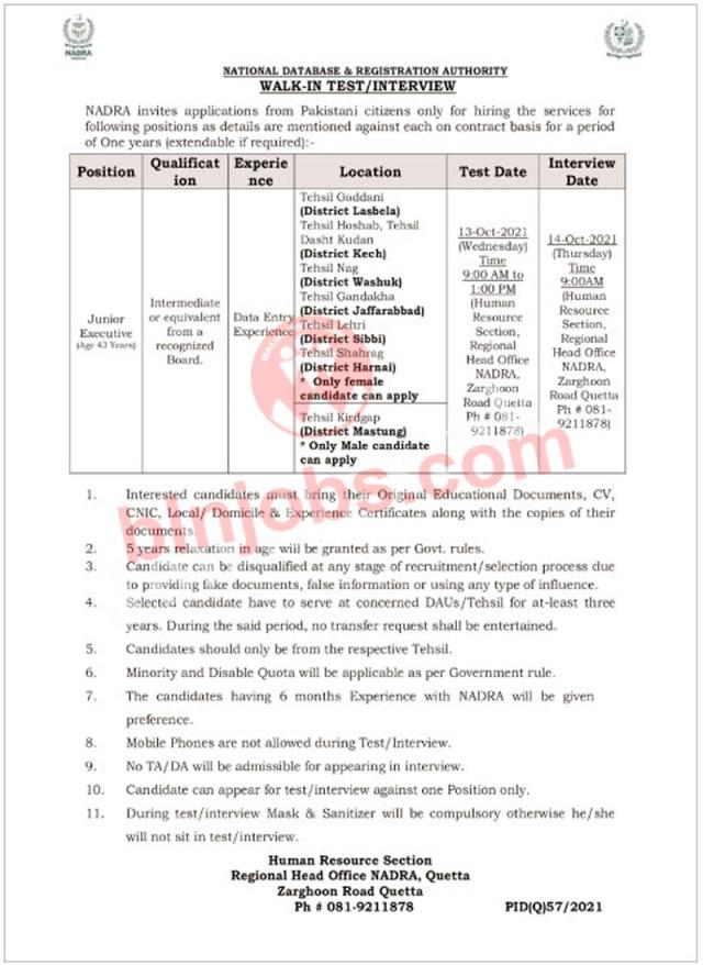 NADRA Balochistan Jobs 2021