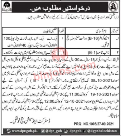 District and Session Court Nushki Jobs 2021