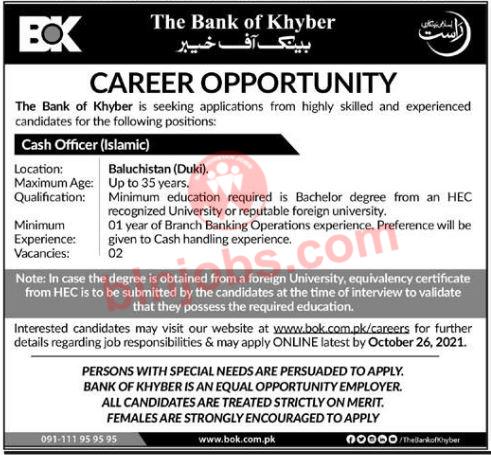 Bank of Khyber BOK Jobs in Duki 2021
