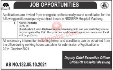 Nurse Jobs in NSGBRM Hospital Mastung 2021
