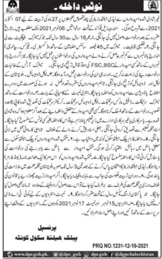 Public Health School Quetta Admissions 2021