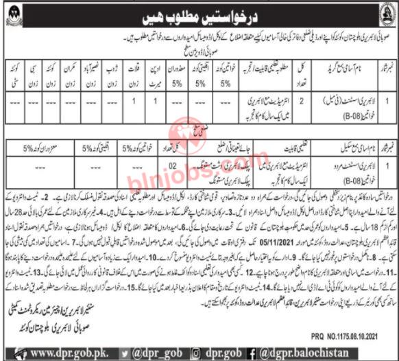 Provisional Library Balochistan Jobs 2021