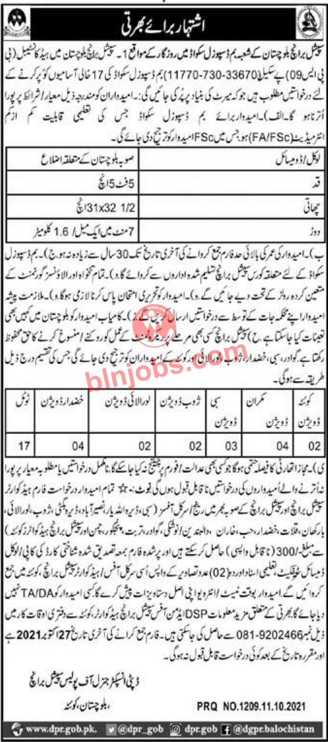 Bomb Disposal Jobs in Balochistan Police Special Branch 2021