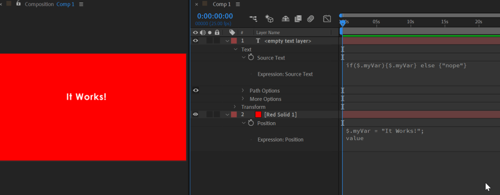 screenshot of After Effects showing expressions