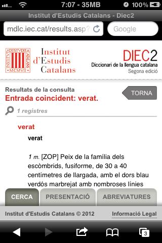 Significat d'una paraula des de la pàgina web per a mòbils del diccionari de l'Institut d'Estudis Catalans