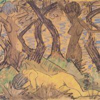 dos desnudos femeninos en un paisaje (Otto Mueller, 1922)