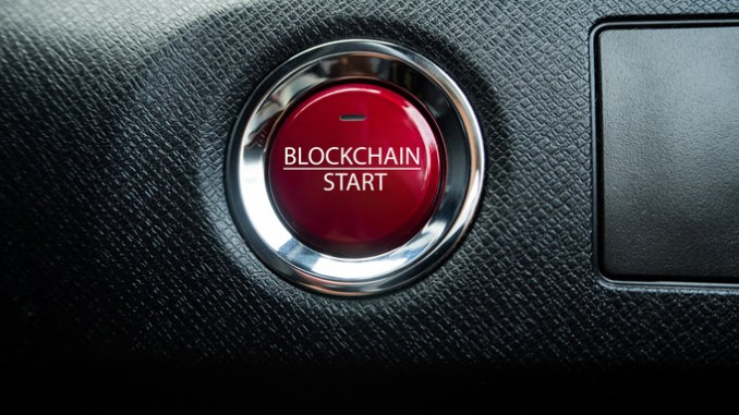 Big red blockchain button on the black background