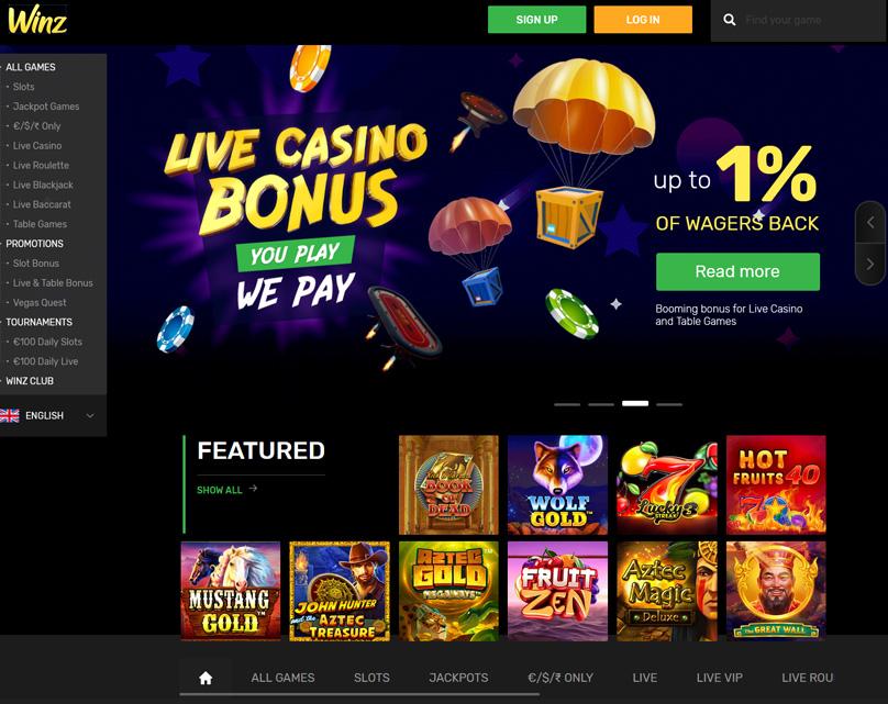 Winz Casino Homepage