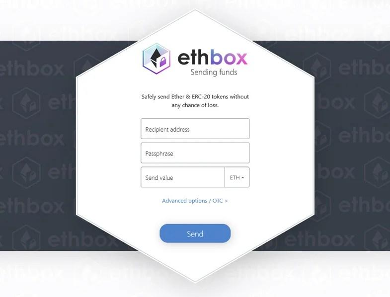Sending funds using Ethbox