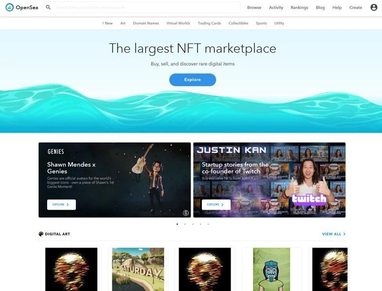 The Opensea website
