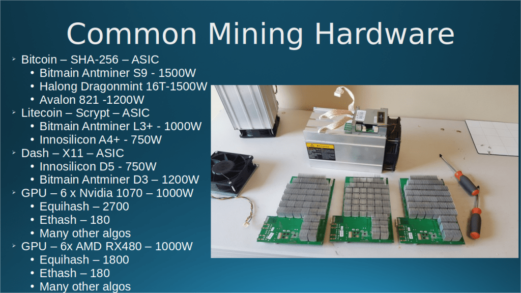 Cryptocurrency Mining Presentation 28 Mar 2018 – video and slides