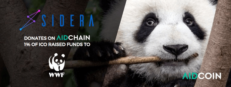 Sidera Announces to Donate 1% of its ICO Raised Funds to WWF Through AidChain
