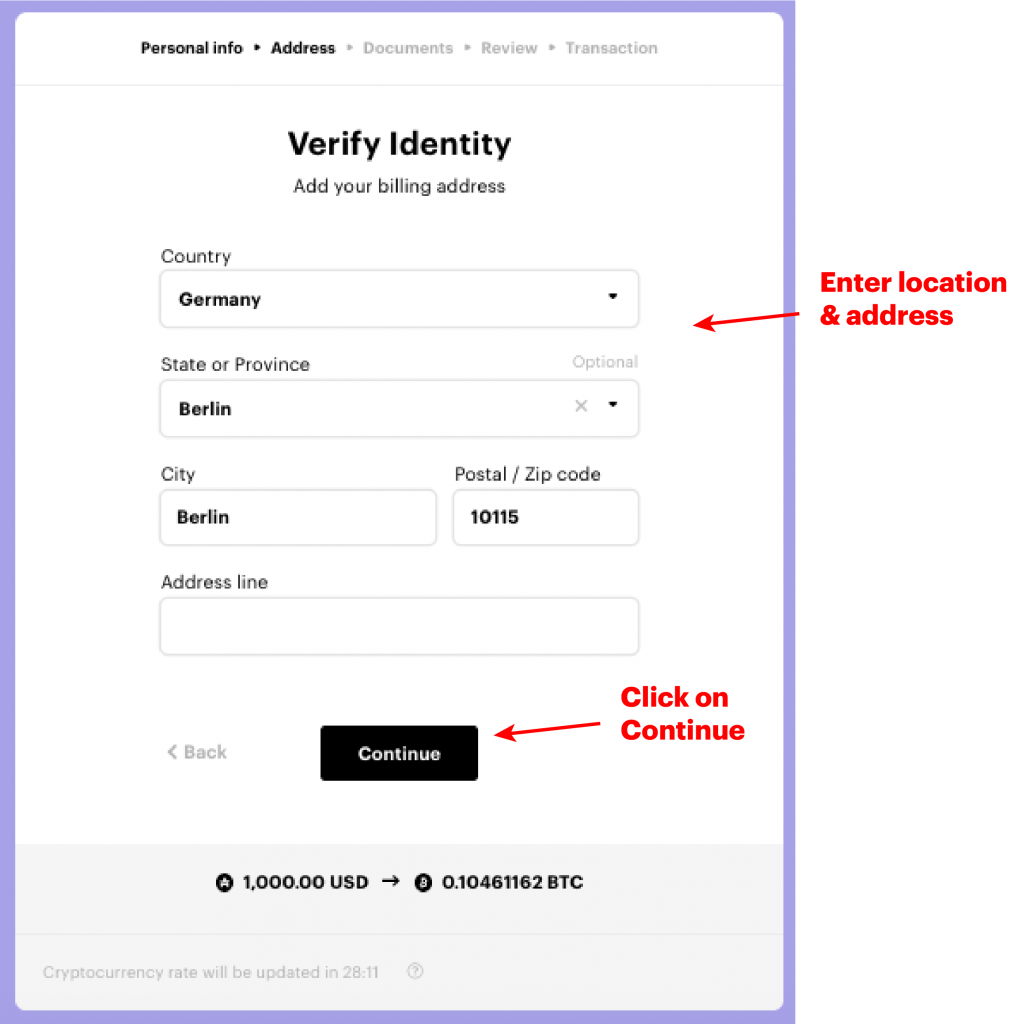 Location and address for ID verification on Paybis exchange