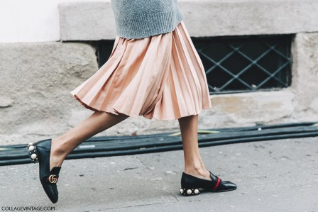 Milan_Fashion_Week_Fall_16-MFW-Street_Style-Collage_Vintage-Gucci_Flats-Pearls-Pleated_Midi_Skirt-2