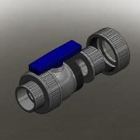 """Blocos FP 3D:  Válvula Esfera Termoplástica 3"""""""