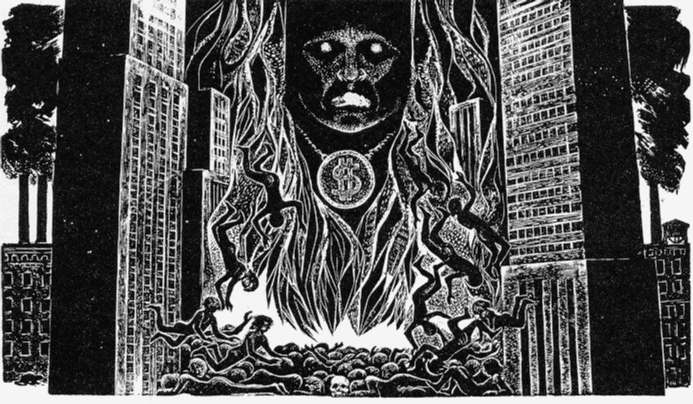 """Moloch,"""" by Lynd Ward (1980) SOURCE: Allen Ginsberg, Howl, ed. Barry Miles (New York: Harper & Row, 1986)."""