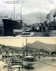 El vaixell (amb el cas blanc o negre) als seus dos ports més freqüentats: Seta i Sóller
