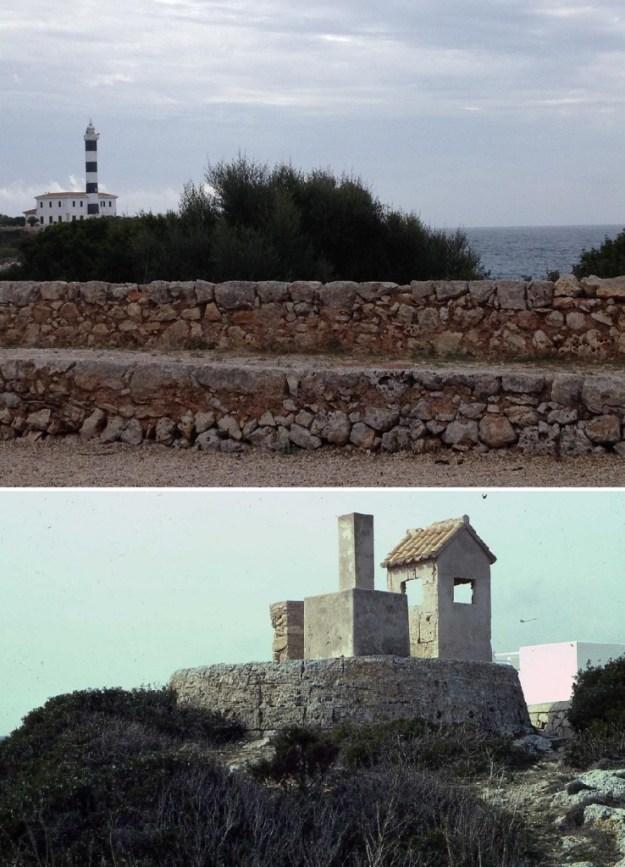 Vestigis de la murada de la bateria (foto superior) i de la base de la torre (foto inferior de la Fundació Cosme Bauçà)