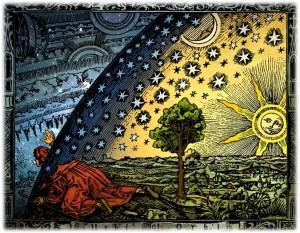 L'Univers medieval segons Camille Flammarion, xilografia, Paris, 1888. (Versió acolorida d'Hugo Heikenwaelder, Viena, 1998.)