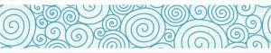 Sanefa espirals blaves sobre fons blanc