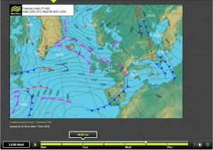 Mapa isobàric previst en superfície per al 09/11/2016, a les 12 h, on podem veure la situació de vents aponentats amb origen a l'Atlàntic Nord (font: MetOffice).