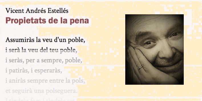 """En temps de maror, escoltem els poetes: """"Car l'exemple és allò que val"""", de Vicent Andrés Estellés."""