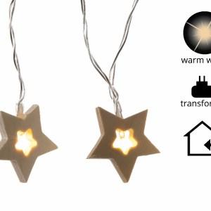Led Kerstverlichting Houten sterren 12 lampjes Warm wit