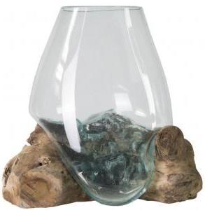 Decowood Glass B Round 30x30 cm ronde glazen vaas op boomstronk M decoratie