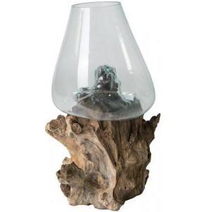 Decowood Glass B Round 35x48 cm ronde glazen vaas op boomstronk L decoratie