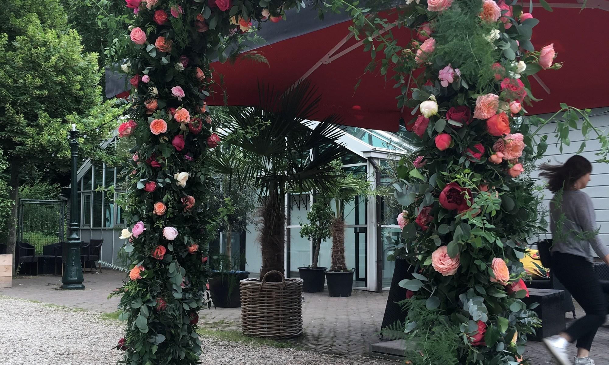 rozenboog met roze rozen
