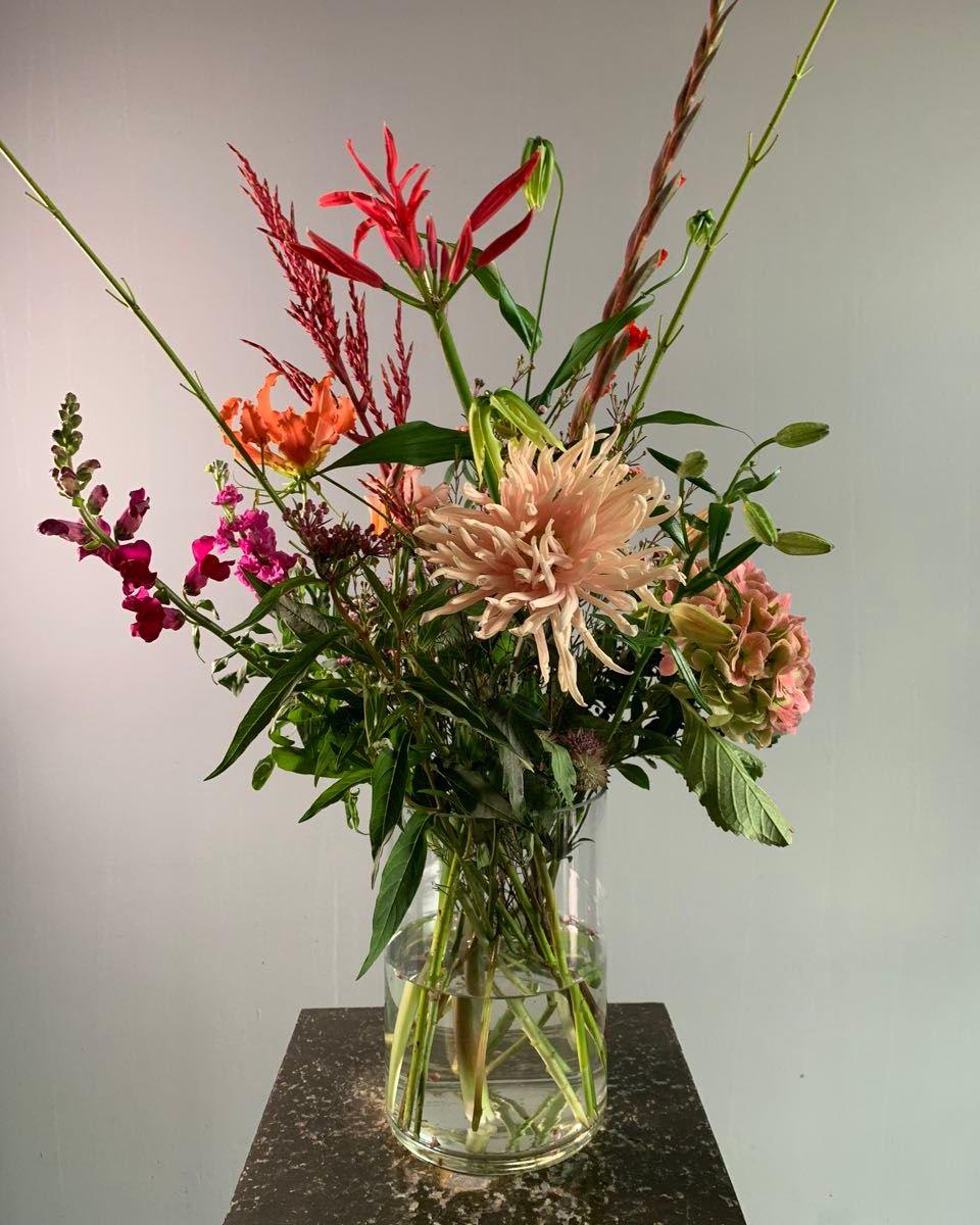 Een herfstboeket van €35,- met seizoensbloemen
