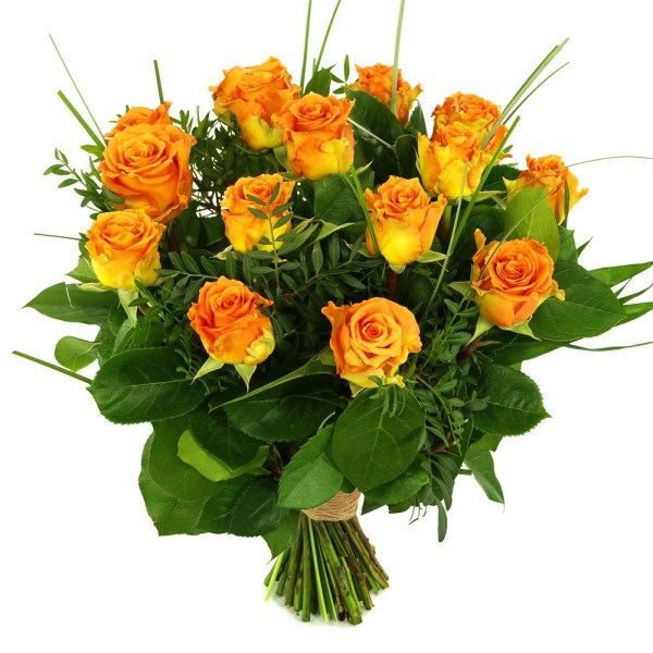 15 Oranje/zalm rozen bestellen of bezorgen
