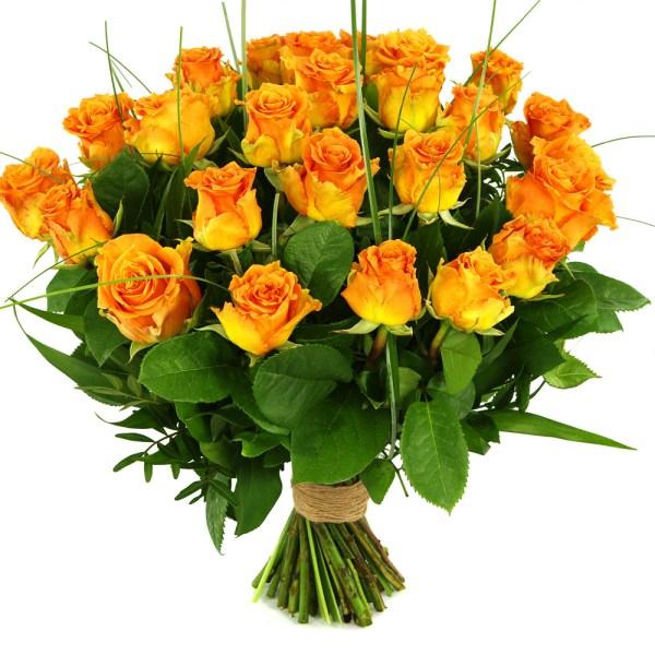 25 Oranje/zalm rozen bestellen of bezorgen