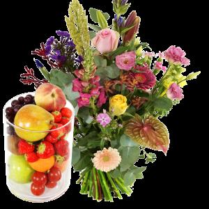 Bloemen fruit glazen vaas laten bezorgen bestellen of bezorgen