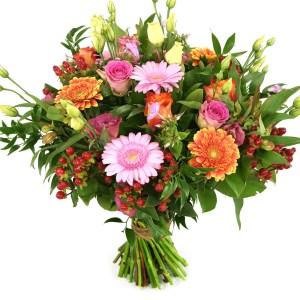 Boeket oranje roze bestellen en bezorgen bestellen of bezorgen