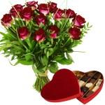 Boeket rode rozen en Leonidas bonbons bezorgen bestellen of bezorgen