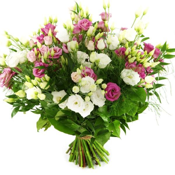 Boeket roze en witte eustoma bestellen of bezorgen