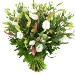 Boeket roze lelie en witte eustoma bestellen of bezorgen