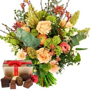 Champagne bloemen en Leonidas bonbons bestellen of bezorgen