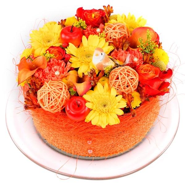 Geel oranje bloementaart kopen bestellen of bezorgen