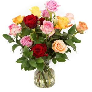 Gemengde rozen en Melkbus vaas bezorgen bestellen of bezorgen