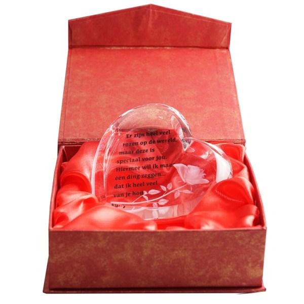 Glazen hart met tekst bestellen of bezorgen