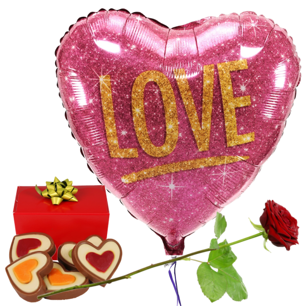 I love you ballon en chocolade bezorgen bestellen of bezorgen