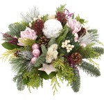 Kerststuk pastel roze wit bezorgen bestellen of bezorgen
