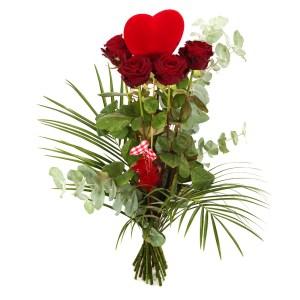 Lange rode rozen met hart bestellen of bezorgen