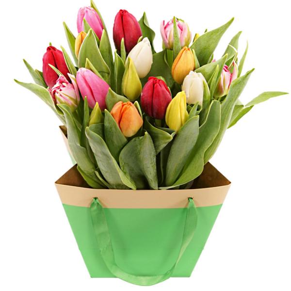 Mixed tulpen in tas bezorgen bestellen of bezorgen