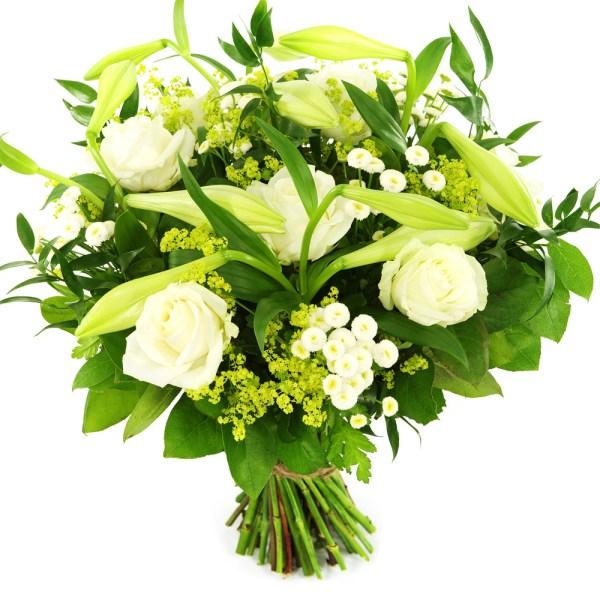Moededag boeket witte lelie en witte rozen bestellen of bezorgen