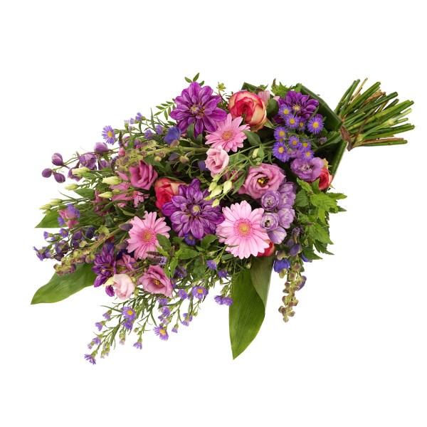 Rouwboeket roze en paarse rouwbloemen bestellen of bezorgen
