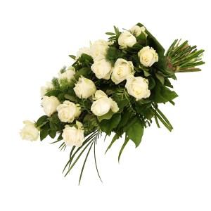 Rouwboeket witte rozen bezorgen bestellen of bezorgen