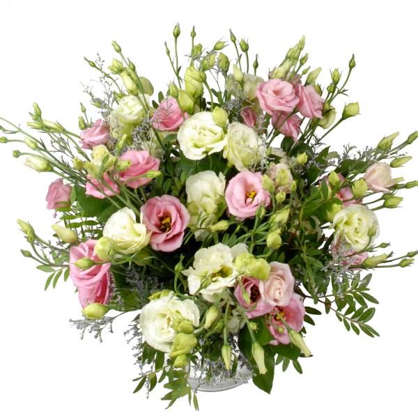 Roze en witte eustoma bloemen bestellen of bezorgen